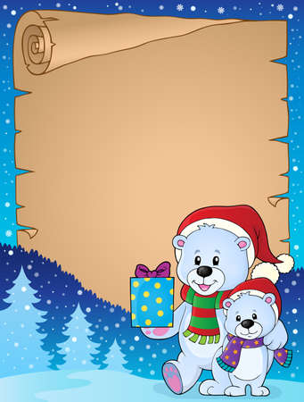 neckscarf: Parchment with Christmas bears Illustration