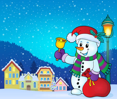 house drawing: Christmas snowman topic Illustration