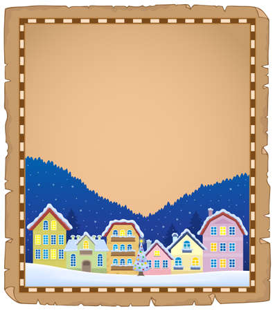 Parchment with Christmas town Illustration