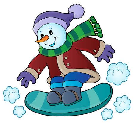 Snowman on snowboard theme Illustration