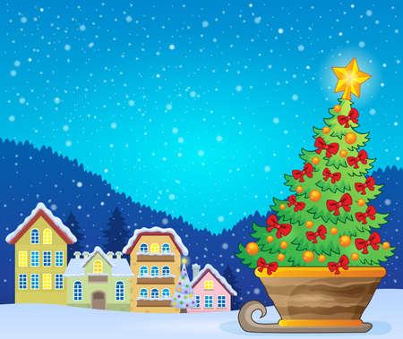 outdoor event: Christmas tree on sledge near village