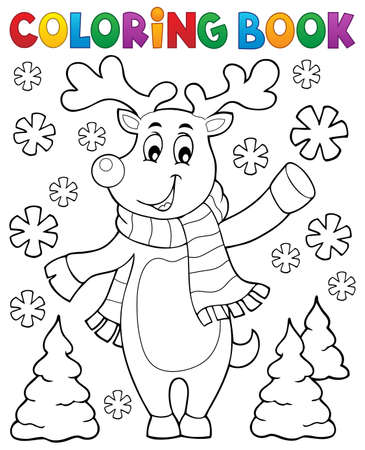 Coloring book stylized Christmas deer Illustration