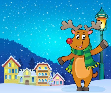 Stylized Christmas deer theme Vektorové ilustrace
