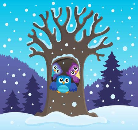 Owl tree theme image 2 - eps10 vector illustration. Illustration