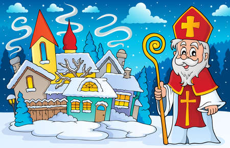 house robes: Saint Nicolas theme image 4 - eps10 vector illustration.