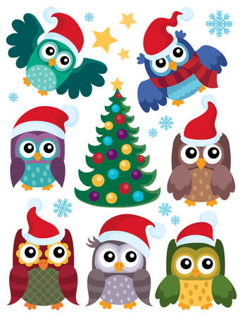thematic: Christmas owls thematic set 1 - eps10 vector illustration.