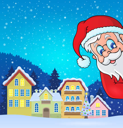outdoor event: Winter village with lurking Santa Claus - eps10 vector illustration.