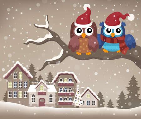 two animals: Christmas owls on branch theme image 2 - eps10 vector illustration.
