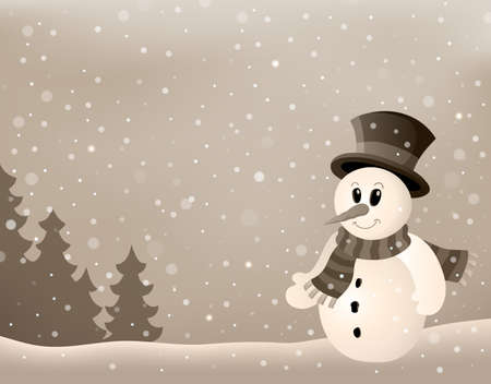 neckscarf: Stylized winter image with snowman 4 - eps10 vector illustration.