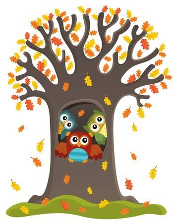 Owl tree theme image 3 - eps10 vector illustration.