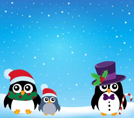 pinguinos navidenos: pingüinos tema de Navidad estilizada 1 - ilustración vectorial eps10. Vectores