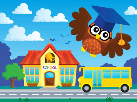 Stylized school owl theme image 2 - eps10 vector illustration.