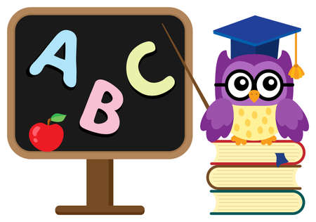 knowledge clipart: Stylized school owl theme image 1 - eps10 vector illustration.
