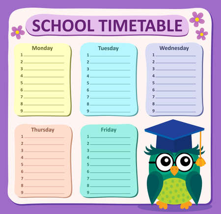 weekly: Weekly school timetable subject 4 - eps10 vector illustration. Illustration