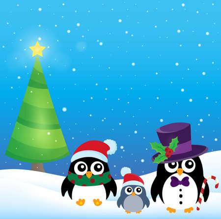 pinguinos navidenos: Estilizada pingüinos tema de la Navidad 3 - ilustración vectorial eps10. Vectores
