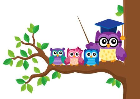Stylized school owl theme image 5 - eps10 vector illustration.