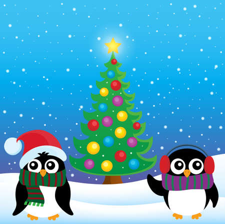 pinguinos navidenos: Stylized Christmas penguins theme 4 - eps10 vector illustration.