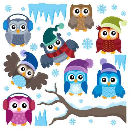 thematic: Winter owls thematic set 1 - eps10 vector illustration. Illustration