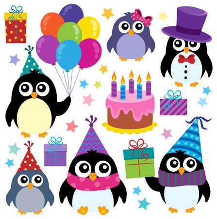 theme: Party penguins theme set 1 - eps10 vector illustration.