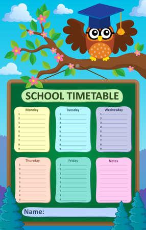 weekly: Weekly school timetable subject 5 - eps10 vector illustration.