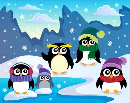 penguins on beach: Stylized winter penguins theme 1 - eps10 vector illustration.