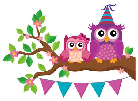 Party owls theme image 2 - eps10 vector illustration. Illustration