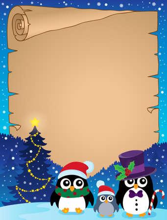 pinguinos navidenos: Estilizada Pingüinos del pergamino 1 - ilustración vectorial eps10. Vectores