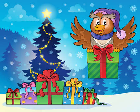 outdoor event: Owl with gift near Christmas tree - eps10 vector illustration.