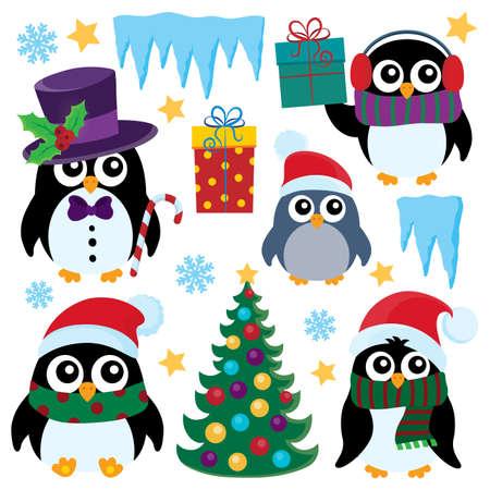 pinguinos navidenos: pingüinos de Navidad estilizada set 1 - ilustración vectorial eps10.