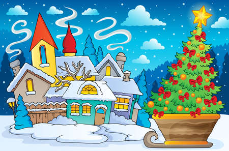 Scenery with Christmas tree on sledge - eps10 vector illustration.