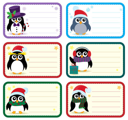 neckscarf: Christmas tags with penguins theme 1 - eps10 vector illustration. Illustration