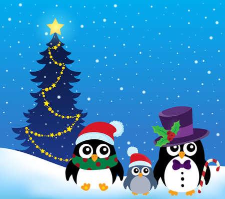 pinguinos navidenos: Estilizada pingüinos tema de la Navidad 2 - ilustración vectorial eps10. Vectores