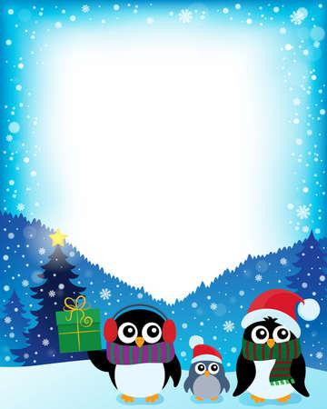 pinguinos navidenos: Capítulo con los pingüinos de Navidad estilizada 2 - ilustración vectorial eps10.