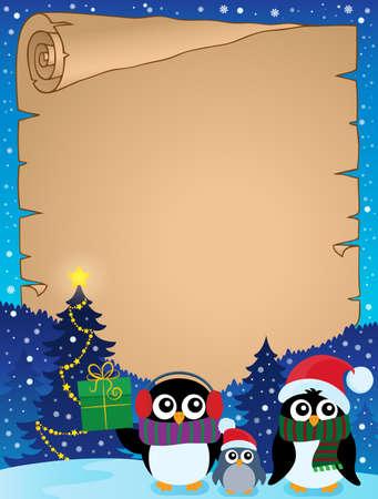 pinguinos navidenos: Estilizada Pingüinos de la Navidad pergamino 2 - ilustración vectorial eps10.