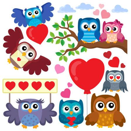 Valentine owls theme Illustration