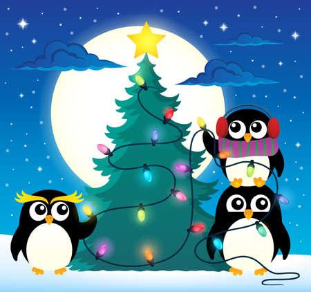 outdoor event: Penguins around Christmas tree theme