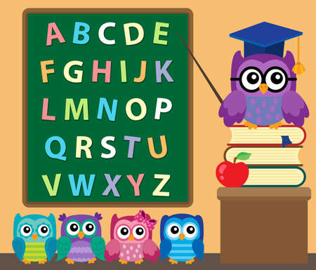 studying classroom: Owl teacher and owlets theme