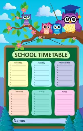weekly: Weekly school timetable subject 6 - eps10 vector illustration. Illustration