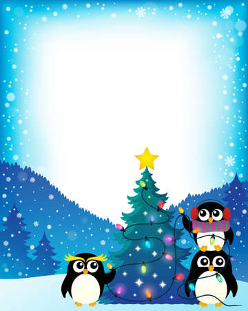 Penguins around Christmas tree theme