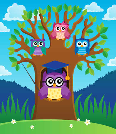 Tree with stylized school owl theme