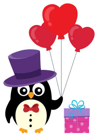 Valentine penguin topic Illustration