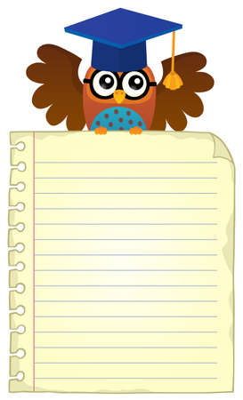 notebook page: Notebook page with school owl