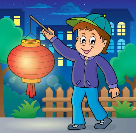 Boy with paper lantern Illustration