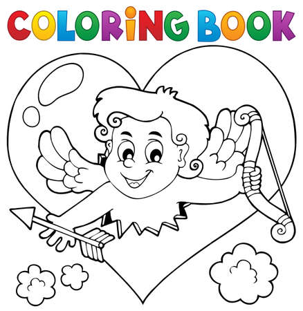 Libro Para Colorear Con El Corazón Y Cupido Ilustraciones ...