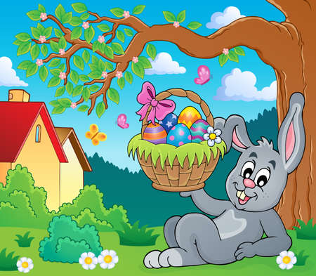 animal ear: Bunny holding Easter basket theme 6 - eps10 vector illustration. Illustration