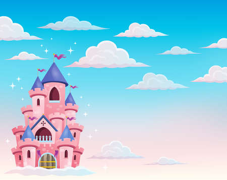 fortified: Pink castle in clouds theme 1 - eps10 vector illustration. Illustration