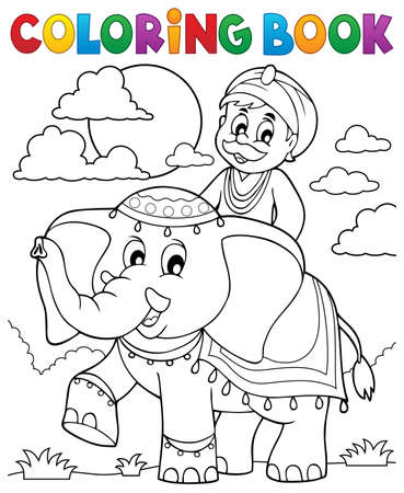 Coloring book man travelling on elephant - eps10 vector illustration.