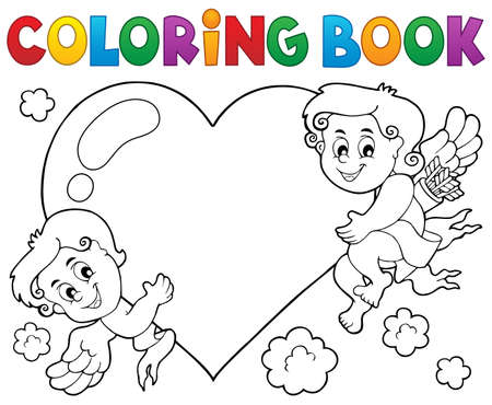 heart month: Coloring book Cupid topic 1 - eps10 vector illustration. Illustration