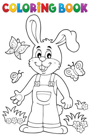tame: Coloring book Easter rabbit theme 6 - eps10 vector illustration.