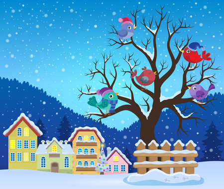 Winter tree with birds theme image 3 - eps10 vector illustration. Illustration